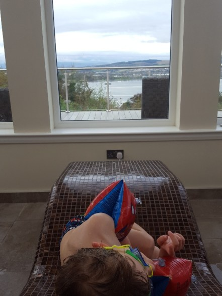 Mr Tot reclines on a heated seat in a room with a view.