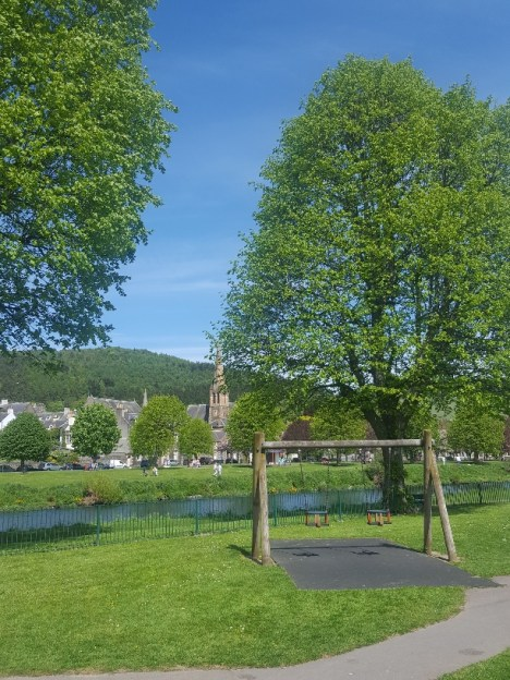 A riverside playground in Peebles
