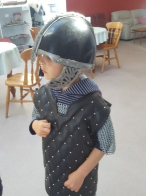 Mini Viking (aged 4) at Hoswick Visitor Centre