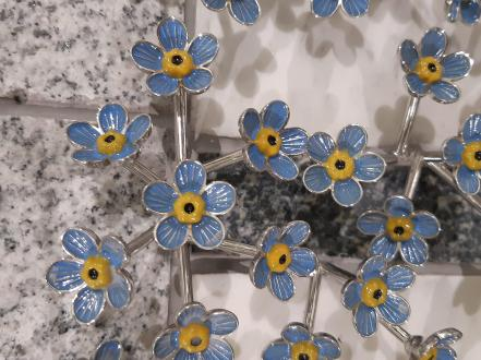 A close up of the forget-me-knots