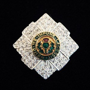 Silver, Enamel & Cz set Scots Guards Brooch