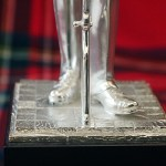 "Silver Plated 12"" Sergeant in Waiting statue on wooden plinth"