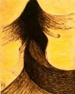 An untitled sketch of a dancing girl by Rabindranath Tagore