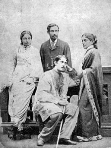 Sitting - Jyotirindranath Tagore. Standing - from right - Kadambari, wife of Jyotirindranath, Satyendranath Tagore, Jnanadanandini, wife of Satyendranath. Image credit: Ministry of Culture, Government of India.