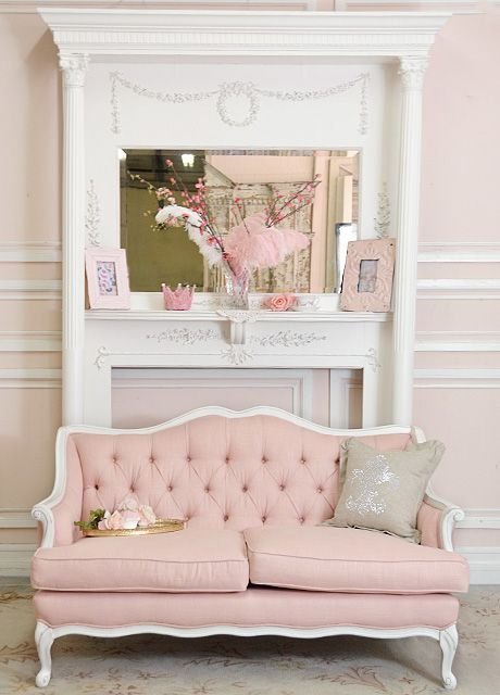 Tufted pink sofa