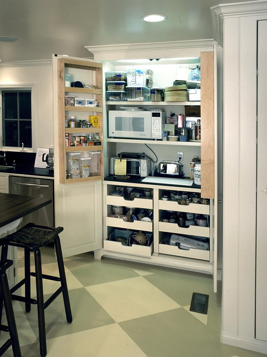 Store appliances in a cupboard
