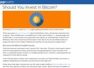Scott Amyx Quoted on Regarding Bitcoins