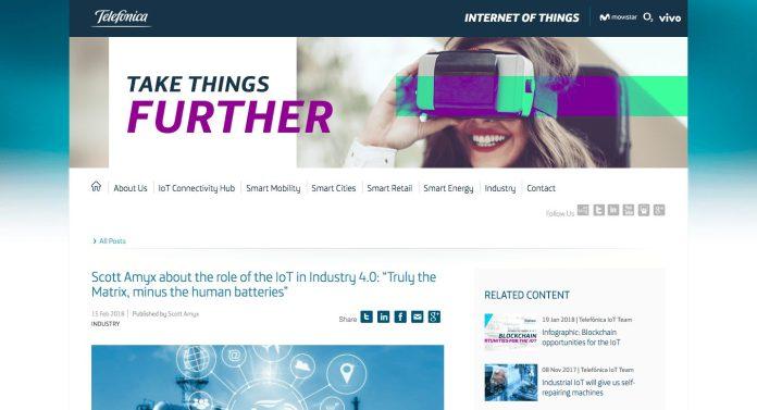 Scott Amyx Featured on Telefonica on IoT