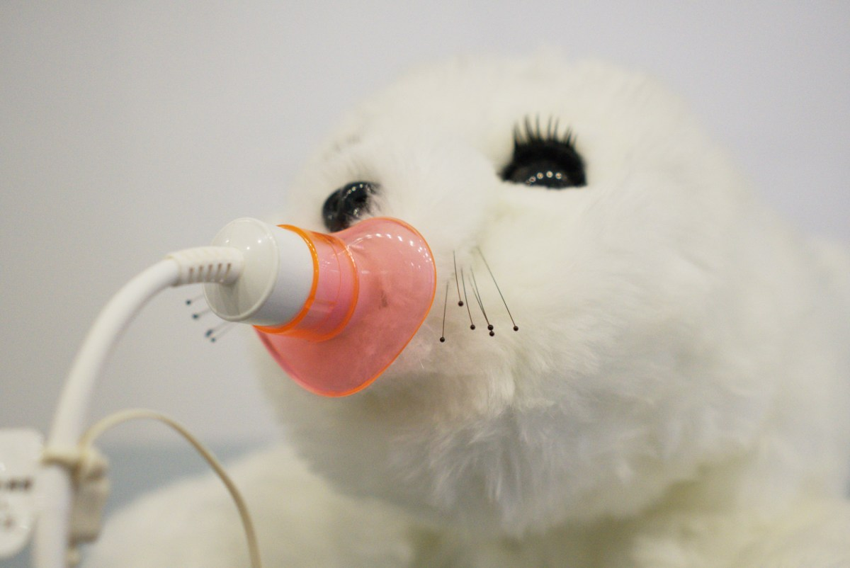 A toy white baby seal has what appears to be a dummy-like object in its mouth. This dummy has a power cable attached to it.