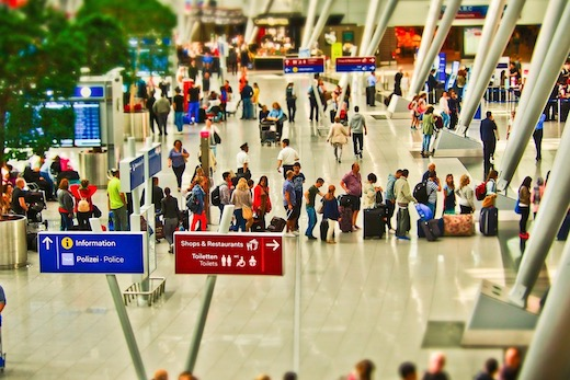 Air travel safety in large airports