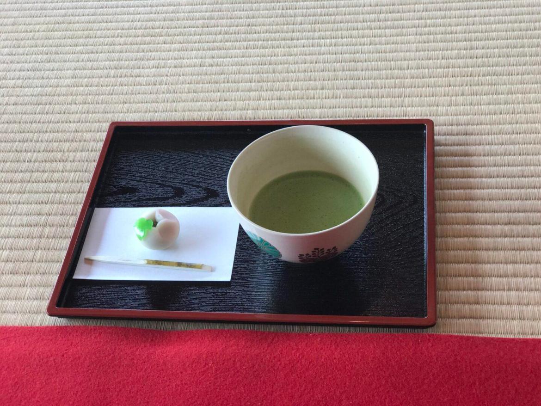 Matcha served inside a Japanese tea house