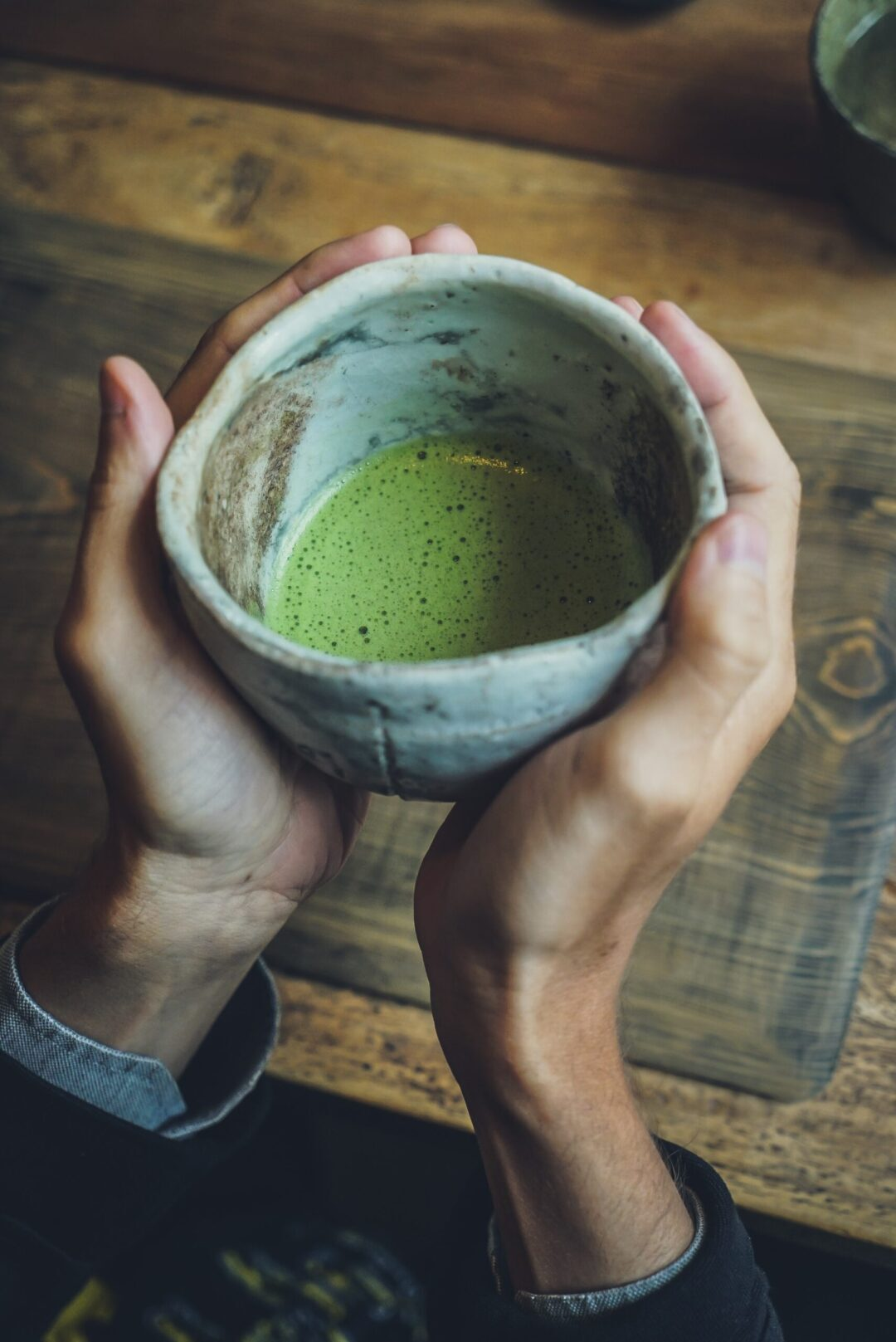Drinking Matcha out of a bowl