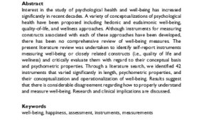 STUDY ALERT: Measuring Well-Being: A Review of Instruments