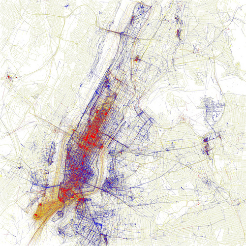 Manhattan. Dots represent where people have taken pictures; blue dots are by locals, red by tourists, and yellow unsure. [via Eric Fischer]