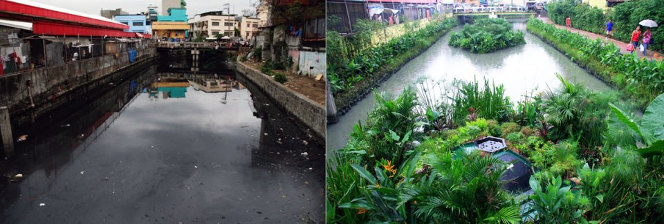 A canal in Manilla, before and after the installation of Biomatrix Water's Floating Islands