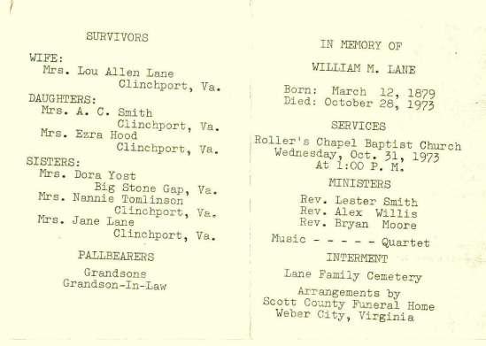 William M. Lane husband of Lou Allen