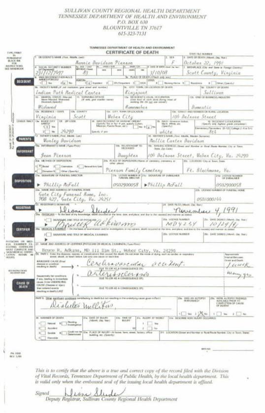 Nannie Davidson Pierson Death Certificate