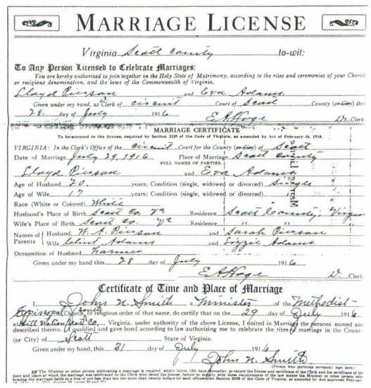 Lloyd PIERSON & Eva ADAMS, 1916 – Marriage