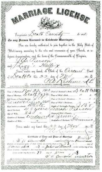 J. A. PIERSON & Lizzie HOLLIX, 1913 – Marriage