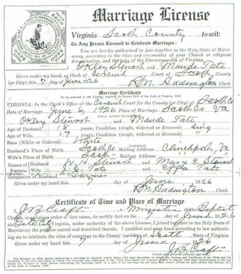 Okley STEWART & Maude TATE, 1926 – Marriage
