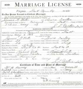 James G. TATE & Laura DORTON/DARTON, 1919 – Marriage