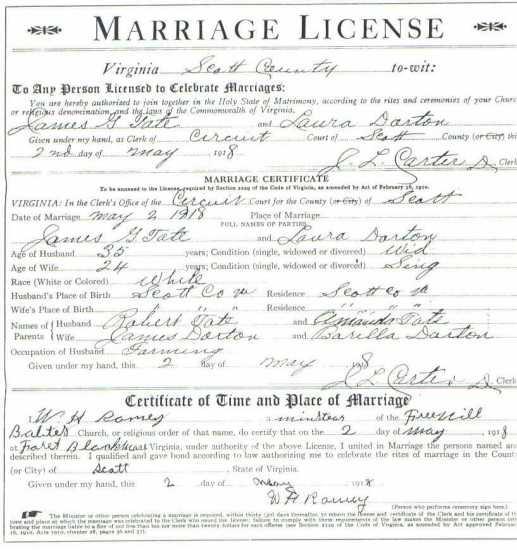 James G. TATE & Laura DORTON/DARTON, 1919 – Marriage