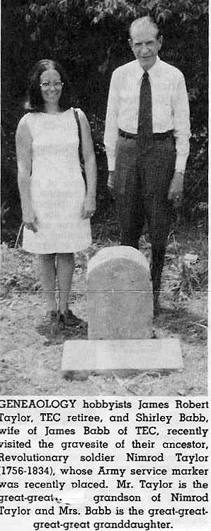 James Robert TAYLOR, and Shirley BABB at Nimrod TAYLOR's grave