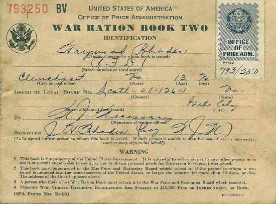 WWII War Ration Book