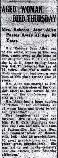 Obituary for Rebecca Jane Lane Allen