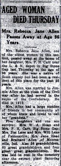 Obituary for Rebecca Jane Lane Allen