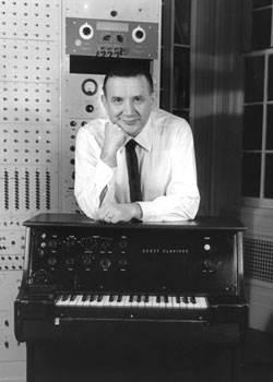Raymond Scott with one of his electronicinstruments