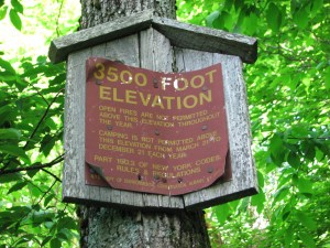 Elevation marker on Balsam Lake Mountain