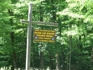 Balsam Lake Mountain Trailhead parking area sign