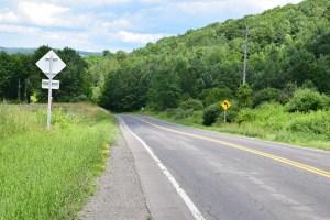 Looking east on Webbs Crossing Road (CR 66)