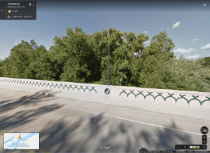 Google Street View of bridge with clan emblems (I did not take any photos)