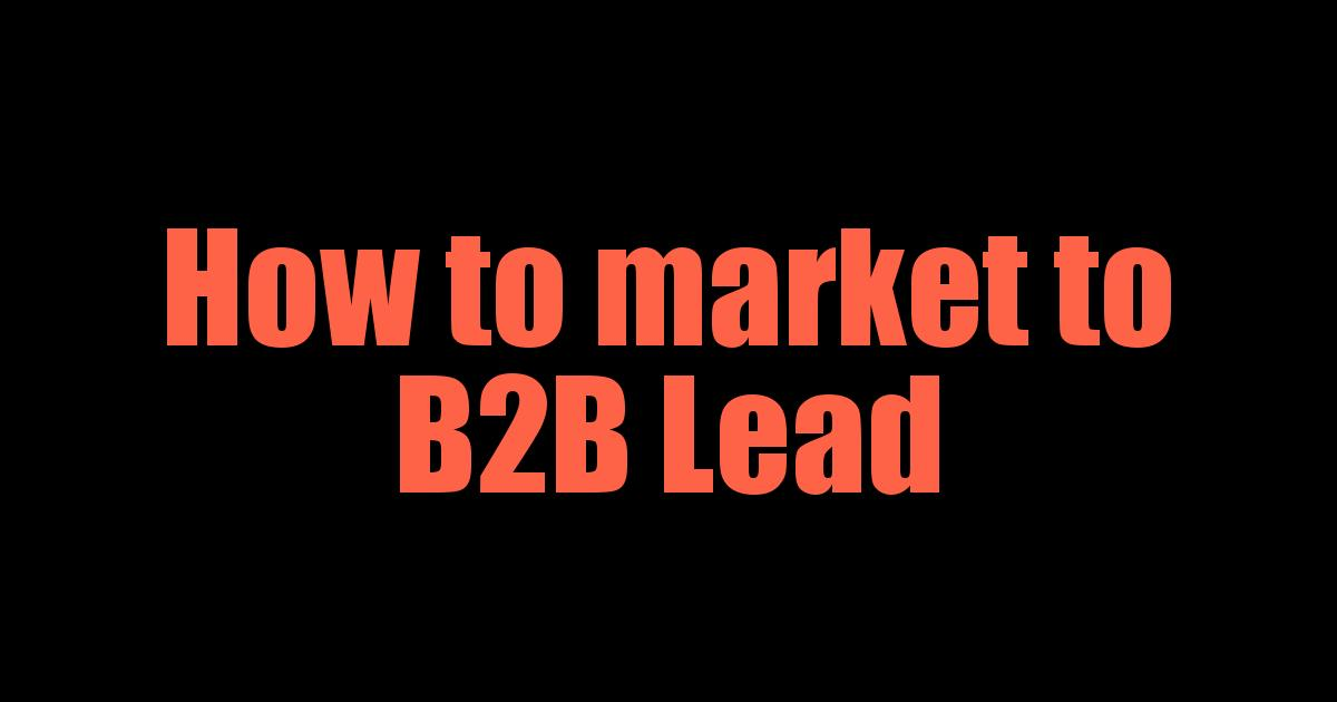 How to market to B2B Lead