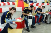 Several students had to take a break from the team preparations and take a planned timed quiz.