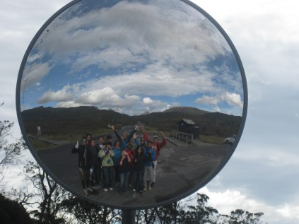 Group photo in the drivers mirror!