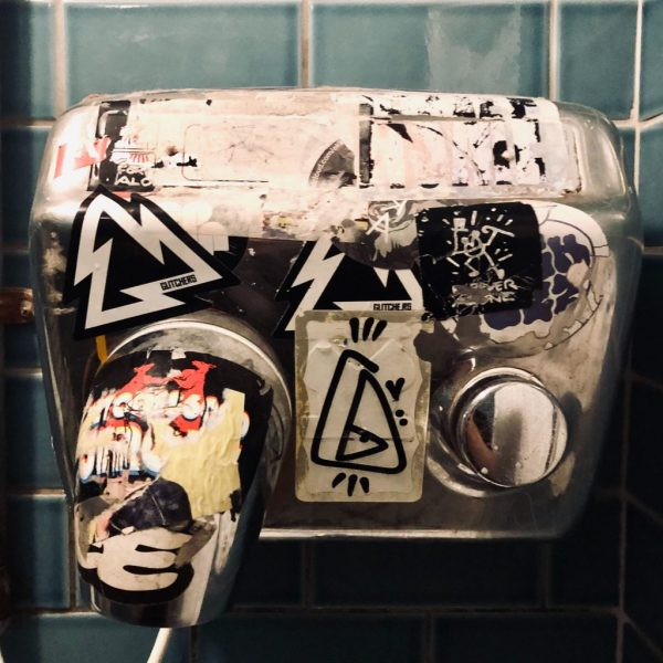 Glitchers. Stickers. Logo. Hand Dryer.