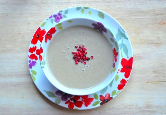 Soup Maker:  Cream of Aubergine and Butter Bean Soup (Egg Plant)