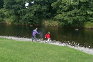Country Kids Stone Skimming