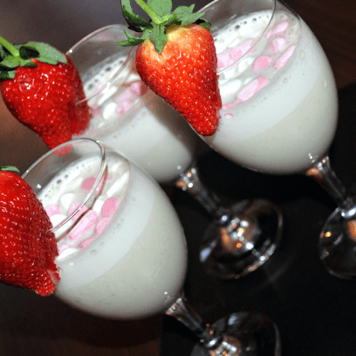 Fair Trade Banana Milkshake Recipe with added Marshmallow, Maltesers and Strawberries