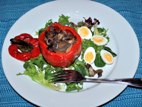 Roasted Stuffed Peppers – Onion, Mushroom and Cheddar Cheese, Served with Quails Eggs and Salad