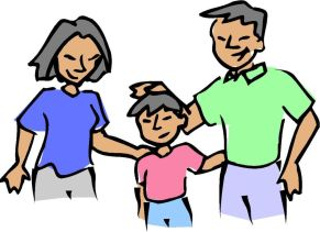 animated parents with child