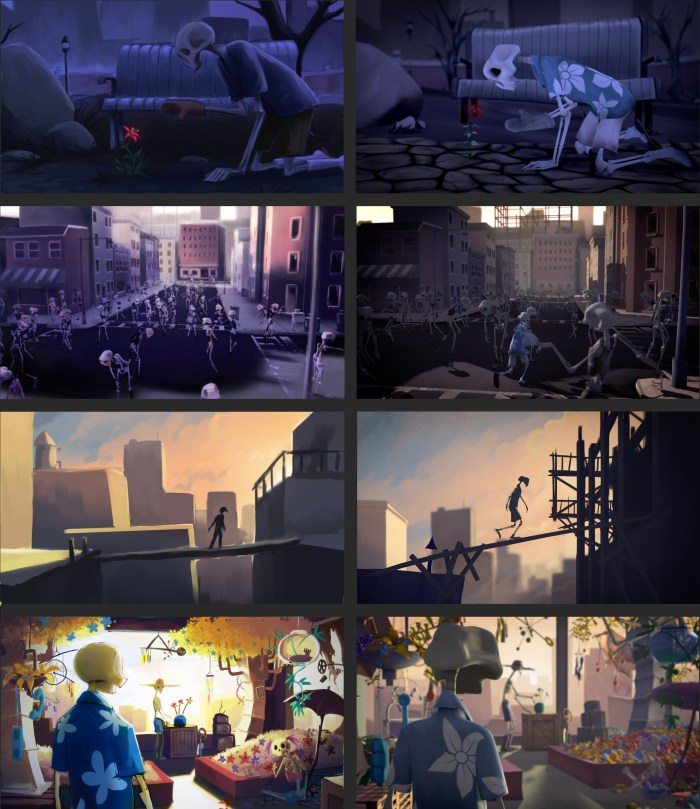 On the left is the original concept art, and on the right is a final still from the film.