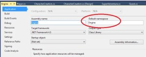 "On the project properties pages, select ""Application"" and check the value in the ""Default namespace"" textbox"