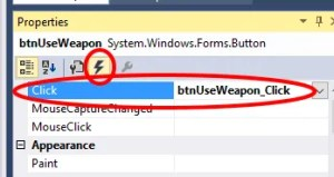 """""""Events"""" for btnUseWeapon"""