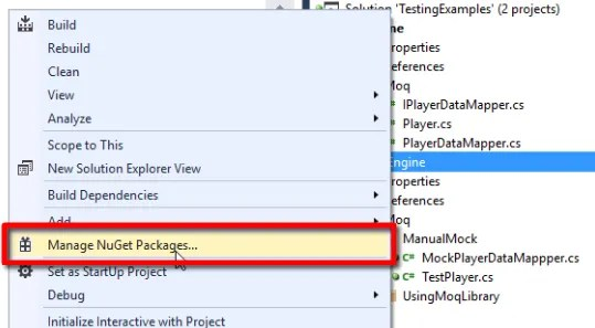 "Right-click on the unit tst project, and select ""Manage NuGet Packages..."", to add Moq to the project"