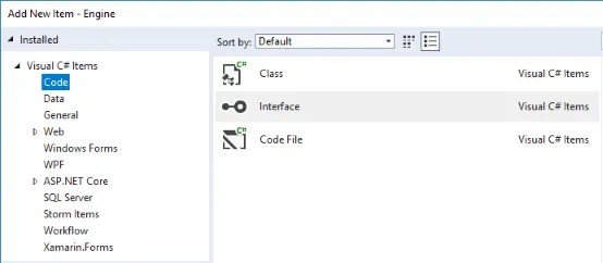 Create an interface in Visual Studio