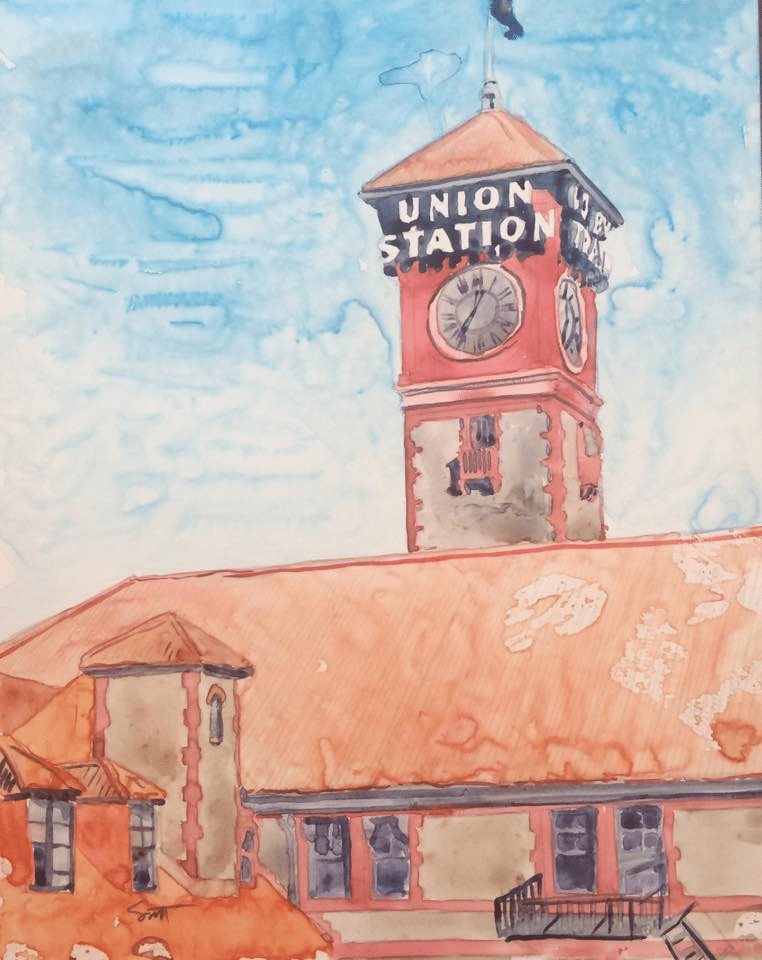 Union Station, Portland Oregon Watercolor on Yupo 11X14 inches Framed